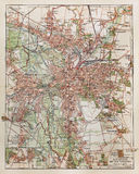 Vintage map of Leipzig. Germant. picture from an 100 years old encyclopedia book Stock Photos