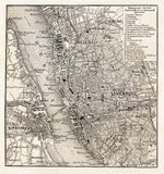 Vintage map of Liverpool. At he end of 19th century Stock Image