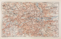 Vintage map of London and surroundings Stock Image