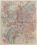 Vintage map of Lyon. At the end of 19th century. Picture from a 100 years old encyclopedia book Royalty Free Stock Photography
