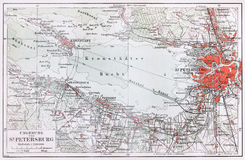 Vintage map of Saint Petersburg surroundings at th Royalty Free Stock Photography