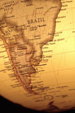 Vintage map of South America. On World Globe with yellow color royalty free stock images