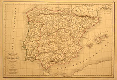 Vintage Map of Spain and Portugal. This original line-colored map of Spain and Portugal was printed in 1850 Stock Image