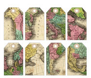 Vintage Map tags with holes support. Vintage map ephemera collage tags Royalty Free Stock Photos