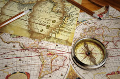 Vintage map and vintage compass Stock Photos
