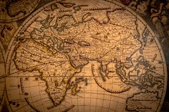 Vintage map of the world 1733.  stock photos