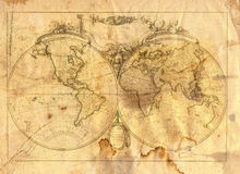 Vintage map of the world. In grunge style Stock Photos