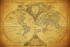 Vintage map of the world 1752. Vintage old map of the world 1752 Stock Image