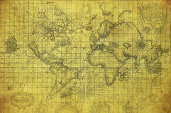 Vintage map of the world 1657 Stock Image