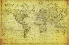 Vintage map of the world 1831. Vintage old map of the world 1831 royalty free stock photo