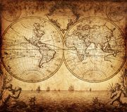 Vintage map of the world 1733. Old vintage map of the world 1733. History and travel background Stock Photography