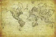 Vintage map of the world 1831. Vintage retro map of the world 1831 Stock Photos
