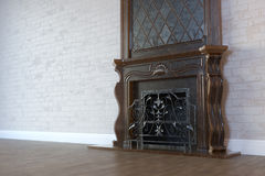 Vintage Marble Fireplace In Classic Room Interior With Hardwood Royalty Free Stock Photo