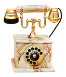 Vintage marble phone. Vintage phone from marble. Clipping path included stock photo