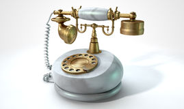 Vintage Marble Telephone Stock Photo