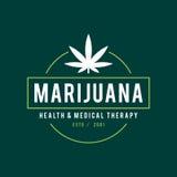 Vintage Marijuana label design, Cannabis Health and Medical therapy, vector illustration Stock Photos