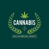 Vintage Marijuana label design, Cannabis Health and Medical therapy, vector illustration Royalty Free Stock Photo