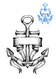 Vintage marine anchor sketch with ribbon Stock Image