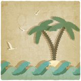 Vintage marine background with palm tree Stock Image