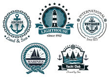 Vintage marine in blue and white emblems and Stock Photo