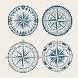 Vintage marine compass logo set. Symbol of retro win rose. Vector illustration Stock Photography