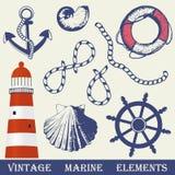 Vintage Marine Elements Set. Royalty Free Stock Photo