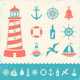 Vintage marine icons Royalty Free Stock Photo