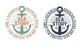 Free Vintage Marine Logo, Tattoo With Anchor Royalty Free Stock Image - 125555926