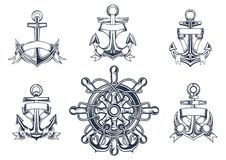 Vintage marine and nautical icons. With ships anchors with blank entwined ribbon banners and a ships wheel with anchors Royalty Free Stock Photography