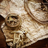 Vintage marine still life. Vintage still life with compass,sextant and old map stock photography