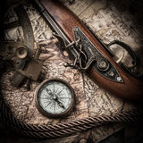 Vintage marine still life. Vintage still life with compass,sextant and old map. map of the 1570 royalty free stock photography