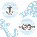 Vintage marine symbols vector icon set: engraving anchor and kno Stock Images