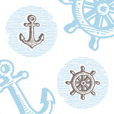 Vintage marine symbols vector icon set: engraving anchor and whe Royalty Free Stock Images