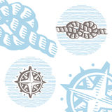 Vintage marine symbols vector icon set: engraving knot and wind. Rose. Collection of retro style sea signs Stock Photo