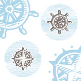 Vintage marine symbols vector icon set: engraving wheel and wind Stock Photo