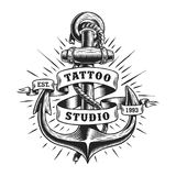 Vintage marine tattoo label. With anchor rope and inscription on ribbon isolated vector illustration stock illustration