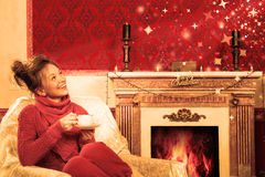 Vintage marry christmas card with a smiling girl in a red room Royalty Free Stock Photos