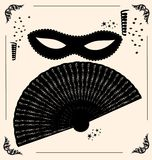 Vintage mask and fan. On vintage background is outlines carnival mask and fan Royalty Free Stock Image