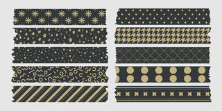 Vintage masking tape collection dark and gold Royalty Free Stock Images