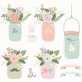 Vintage Mason Jar floral illustration de vecteur