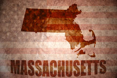 Vintage massachusetts map. Massachusetts map on a vintage american flag background stock image