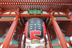 Vintage massive paper lantern on the Kaminarimon Royalty Free Stock Images