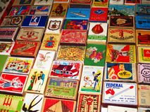 Vintage Match Boxes, Hand Drawn Labels. Stock Photo