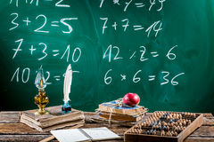 Vintage mathematics desk with books stock photos