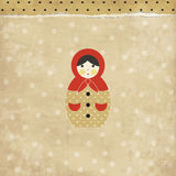 Vintage matrioshka card Royalty Free Stock Photography