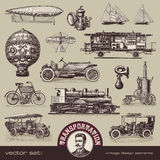 Vintage means of transportation. Travelling and transportation - various retro design elements Royalty Free Stock Photo