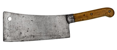 Vintage meat cleaver. Isolated over white background stock photo