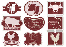 Vintage meat logos. Vector stock royalty free illustration