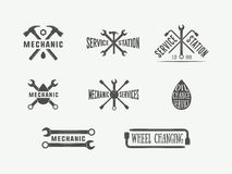 Vintage mechanic and car service logos, emblems, badges, labels, marks, prints and posters. Stock Photo