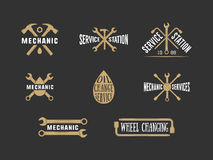 Vintage mechanic label, emblem and logo Royalty Free Stock Images